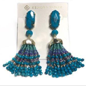 Kendra Scott Dove Statement Aqua Howlite Earrings
